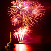 Salute, fireworks above the Sevastopol bay. — Stock Photo
