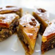 Eastern sweets: baklava with the nuts, closeup of eastern sweet dessert — Stock Photo #7644535