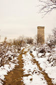 Autumn time: Svan tower and road under the snow in open-air enthographical — Stock Photo