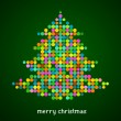 Xmas background with pixel Christmas tree — Stok Vektör