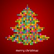 Stock Vector: Xmas background with pixel Christmas tree