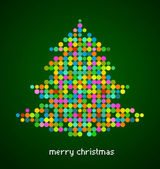 Xmas background with pixel Christmas tree — Stock Vector