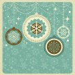 Kerstmis achtergrond met retro patroon — Stockvector