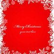 Christmas red background with snowflakes pattern — Imagen vectorial
