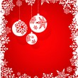 Christmas red background with snowflakes pattern — Stockvectorbeeld