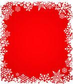 Weihnachten roten hintergrund mit schneeflocken-muster — Stockvektor