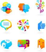 Collectie van sociale media en netwerk pictogrammen — Stockvector