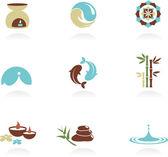 Kolekce ikon lázní a zen — Stock vektor