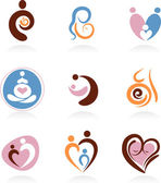 Collection of motherhood icons — Stock Vector
