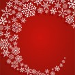 Christmas red background with snowflakes pattern — Image vectorielle