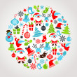 Stock Vector: Christmas background with set of icons