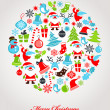 Christmas background with set of icons — Stock Vector