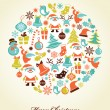Royalty-Free Stock Vector Image: Christmas background with set of icons