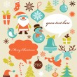 Retro Christmas background with collection of icons — Stok Vektör
