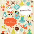 Retro Christmas background with collection of icons — Stockvectorbeeld