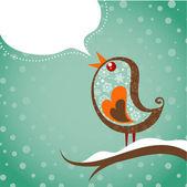 Retro weihnachten hintergrund mit vogel — Stockvektor