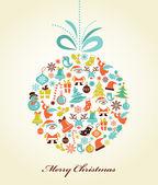 ρετρό χριστούγεννα φόντο, με την μπάλα χριστούγεννα — Διανυσματικό Αρχείο