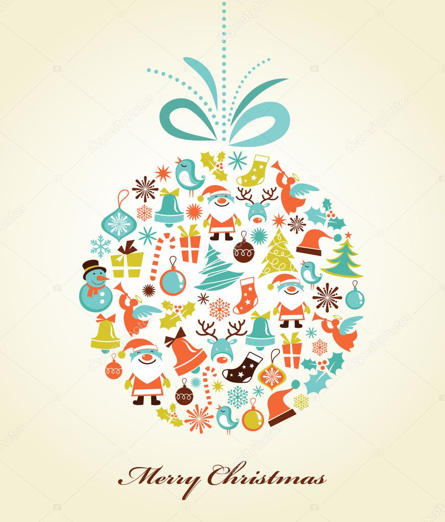 Christmas background with set of icons on the xmas ball, vector — Imagen vectorial #7141466