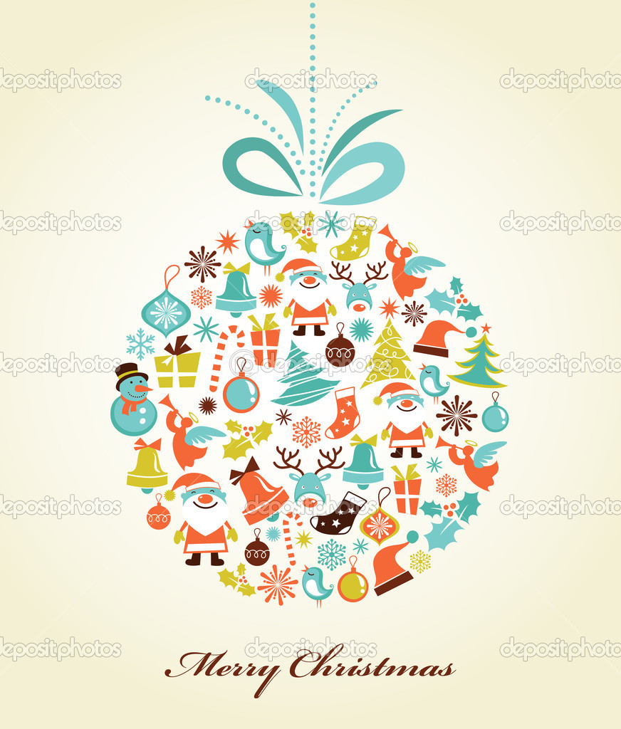Christmas background with set of icons on the xmas ball, vector — Векторная иллюстрация #7141466