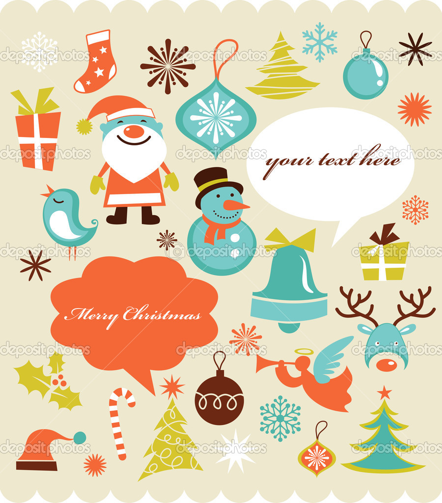 Christmas background with set of icons , retro style  Stock Vector #7141490