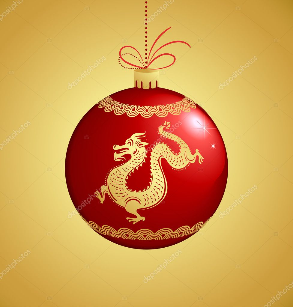Chinese dragon for New Year 2012 - vector vackground — Stock Vector #7343987