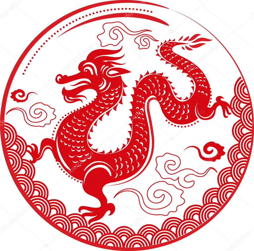 Chinese dragon for New Year 2012 - vector vackground  Stock Vector #7349779