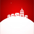Christmas card with night town and snow - Stock Vector