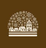 Schneekugel mit Stadt und Schneeflocken — Stockvektor
