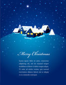Christmas card with night town and snow — Stock Vector
