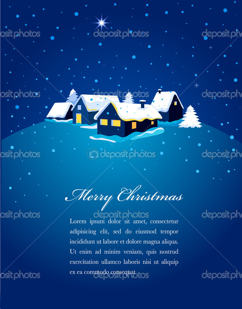 Christmas card with night town and snowstration  Stock Vector #7357095