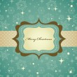Christmas background with retro pattern and frame — Stockvectorbeeld