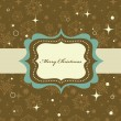 Christmas background with retro pattern and frame — Image vectorielle