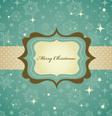 Christmas background with retro pattern and frame — Stock Vector