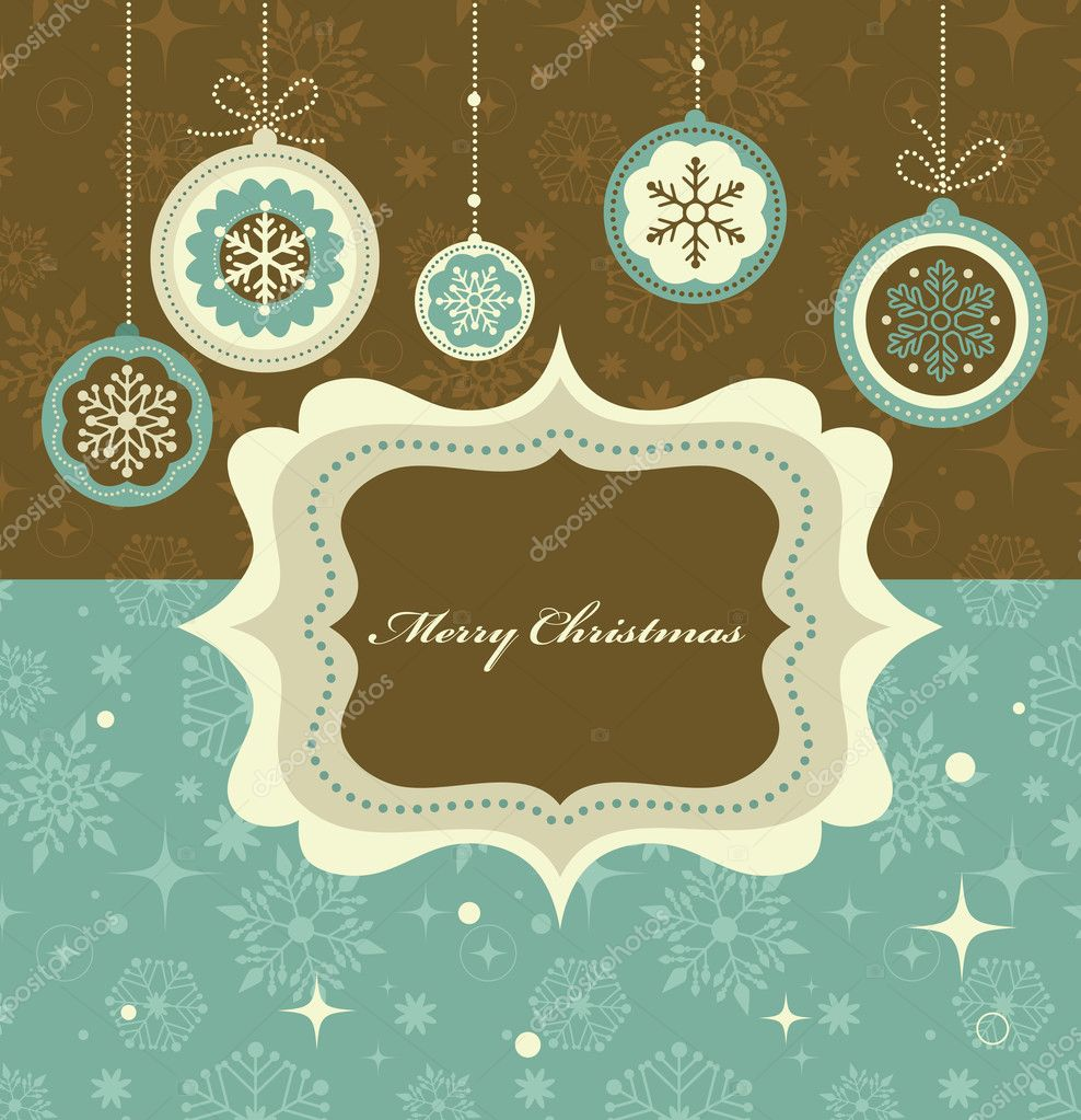 Christmas background with retro pattern and frame - Stock Illustration