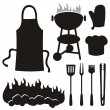 Stock Vector: Barbeque silhouettes