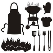Barbeque-silhouetten — Stockvektor