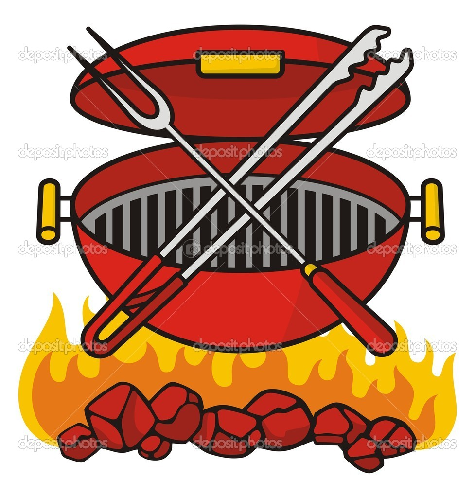 Barbeque grill over flaming charcoal with crossed fork and tongs. — Stock Vector #6830929
