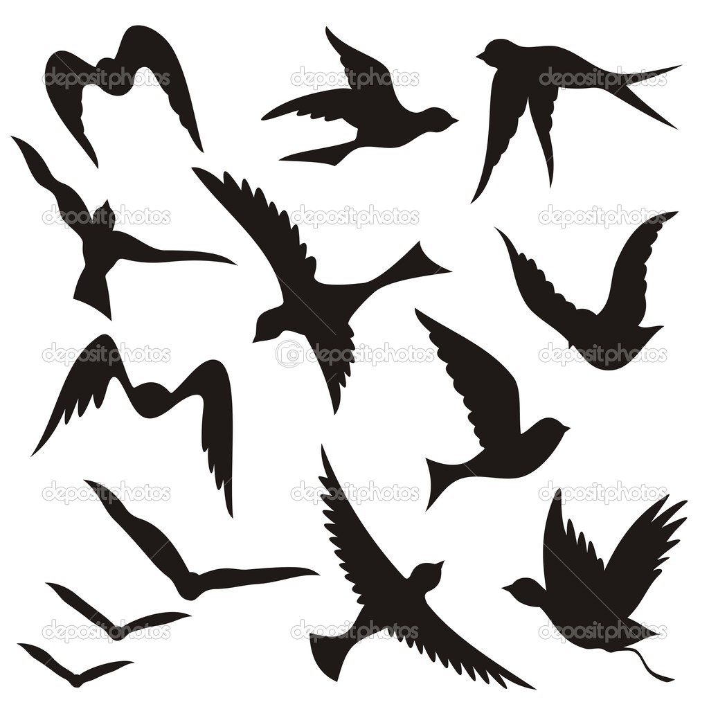 Sparrow Silhouette Flying A set of flying birds