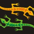 Green and orange lizards — Stock Vector #7401603