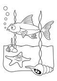 Sea life coloring book — Stock Vector