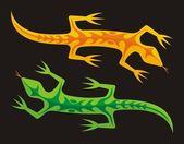 Green and orange lizards — Stock Vector