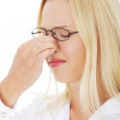 Young woman with sinus pain — Stock Photo