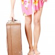 Caucasian woman legs with travel case — Stock Photo