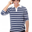 Handsome caucasian man makes a call — Stock Photo
