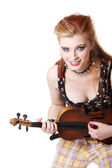 Teen punk girl playing fiddle. — Stock Photo