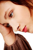 Closeup portrait of depressed woman. — Stock Photo