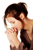 漂亮的女孩祈祷. — 图库照片