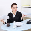 Businesswoman having a lot of paperwork. — Stock Photo #7650469
