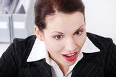 Donna bella business essere positivamente sorpresa. — Foto Stock