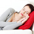 Beautiful woman sleeping on a couch. — Stock Photo #7856777